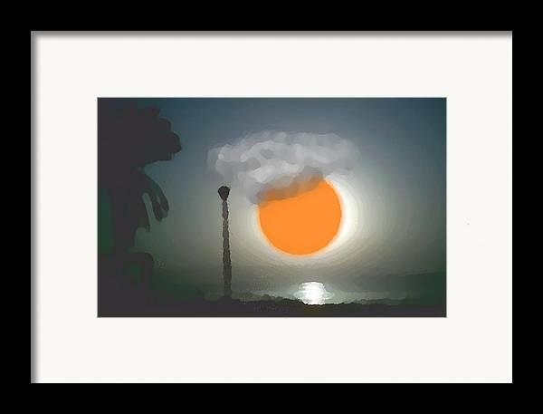 Urban.sea.sunset.sky.sun.water Sun Reflection.coast. Framed Print featuring the digital art Urban Sea Sunset by Dr Loifer Vladimir