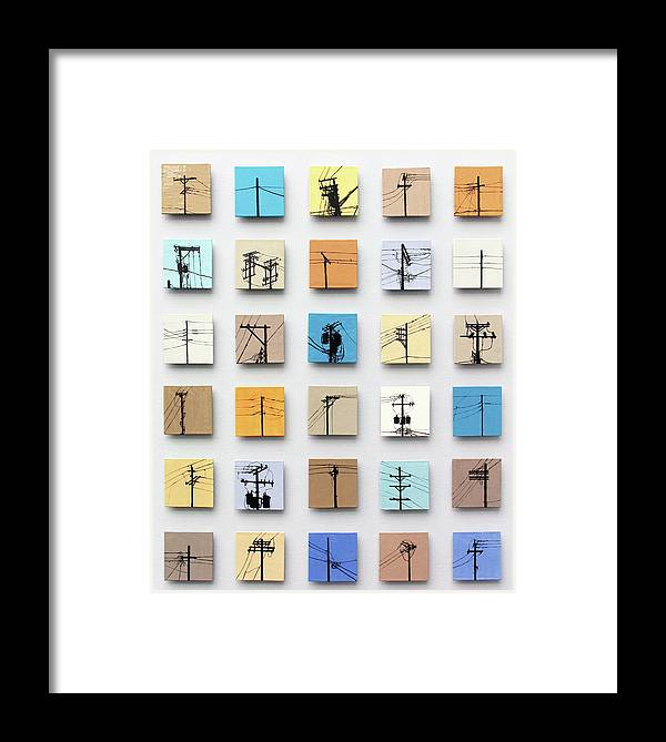 Tile Framed Print featuring the relief Urban Sentinels by Jason Messinger