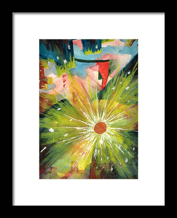 Downtown Framed Print featuring the painting Urban Sunburst by Andrew Gillette