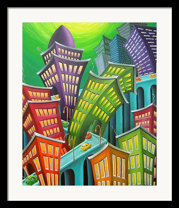 Urban Framed Print featuring the painting Urban Vertigo by Eva Folks