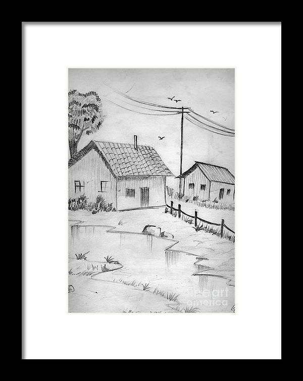 Pencil Drawing Framed Print featuring the painting Urbanisation Of Villages - Gaon Chale Shahr Ki Oar by Tanmay Singh