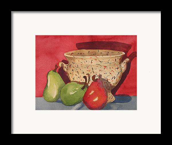 Pears Framed Print featuring the painting Urn With Pears by Libby Cagle
