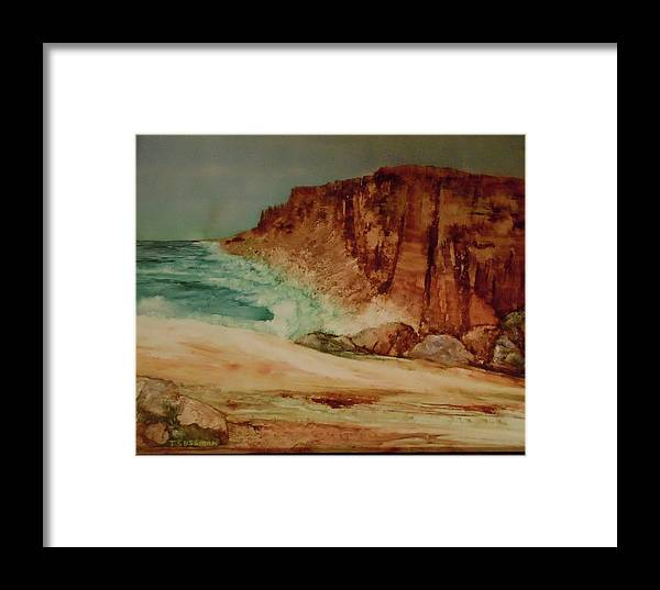 Seascape Framed Print featuring the painting Us 1 California by Terry Sussman