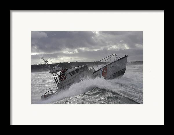 Horizontal Framed Print featuring the photograph U.s. Coast Guard Motor Life Boat Brakes by Stocktrek Images