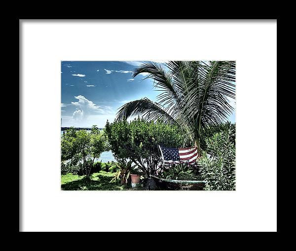 Amerian Flag Framed Print featuring the photograph US Flag in the Abaco Islands, Bahamas by Cindy Ross