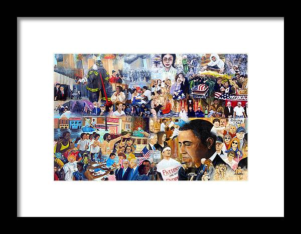 Katrina Framed Print featuring the painting Us History The First Ten Years 21st Century by Leonardo Ruggieri