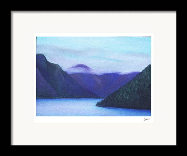 Landscape Framed Print featuring the painting Us Hwy 101 Lake Crescent Washington by Gary Jameson