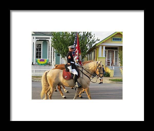 U.s. Marine Corps Framed Print featuring the photograph U.s. Marine Corps Krewe Of Proteus Mardi Gras 2017 by Sean Gautreaux