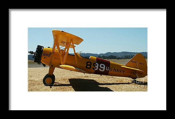 Diane Berry Framed Print featuring the painting US Navy biplane by Diane E Berry
