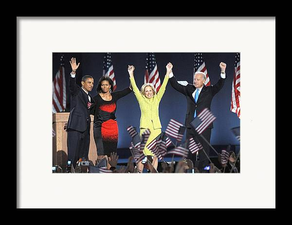 Barack Obama U.s. Presidential Election Victory Speech And Celebration Framed Print featuring the photograph U.s. President Elect Senator Barack by Everett