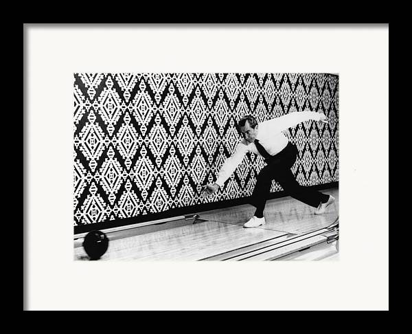 1970s Candids Framed Print featuring the photograph U.s. President Richard Nixon, Bowling by Everett