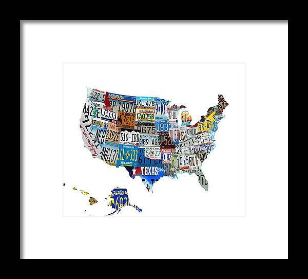 License Plate Framed Print featuring the digital art Usa License Plates Map 4p by Brian Reaves