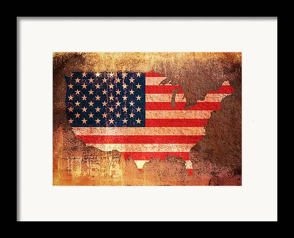 Us Flag Framed Print featuring the digital art Usa Star And Stripes Map by Michael Tompsett