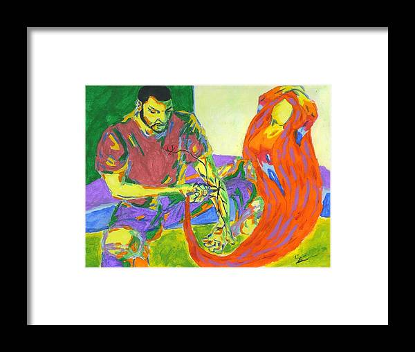 Drugs Framed Print featuring the painting Use Somebody by Jason JaFleu Fleurant
