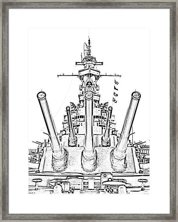 Uss Alabama Battleship Guns Tower And Flags Mobile Alabama Black And