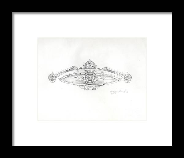Star Trek Framed Print featuring the drawing Uss Bering Sea Front View by Joseph A Langley