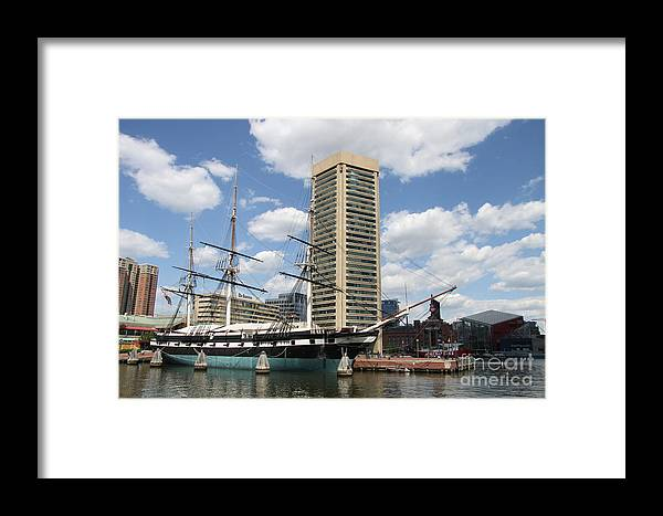 All Sail War Ship Framed Print featuring the photograph Uss Constellation - Baltimore Inner Harbor by Christiane Schulze Art And Photography