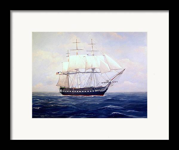Marine Art Framed Print featuring the painting Uss Constitution by William H RaVell III