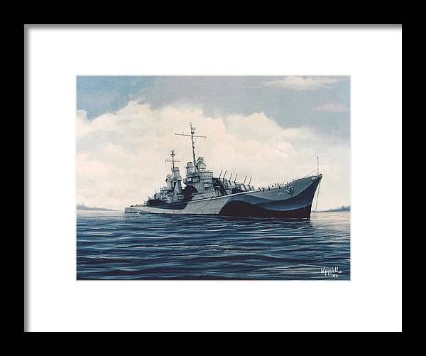 U. S. Navy Framed Print featuring the painting USS Cruiser San Juan by William Ravell