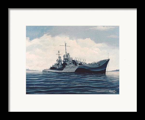 U. S. Navy Framed Print featuring the painting Uss Cruiser San Juan by William H RaVell III