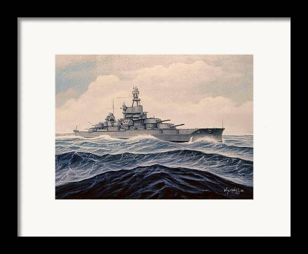 Marine Art Framed Print featuring the painting Uss Pensylvania by William H RaVell III
