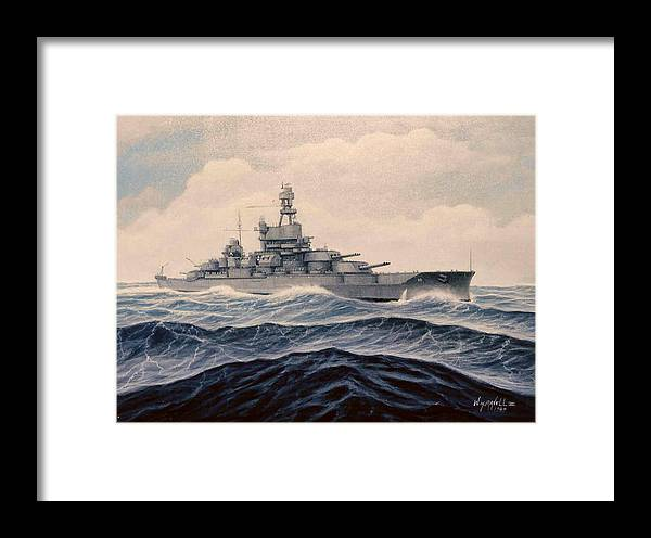 Marine Art Framed Print featuring the painting Uss Pensylvania by William H RaVell III