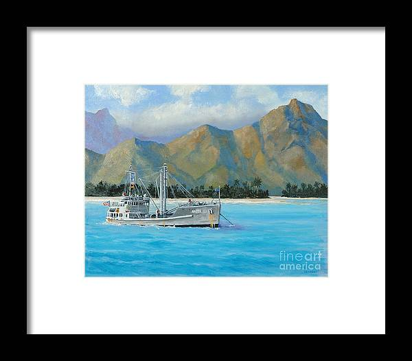 Seascape Framed Print featuring the painting Uss Reluctant Anchored Off Ennui by Glenn Secrest