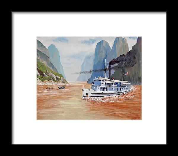 the Sand Pebbles Framed Print featuring the painting Uss San Pablo On Yangtze River Patrol by Glenn Secrest
