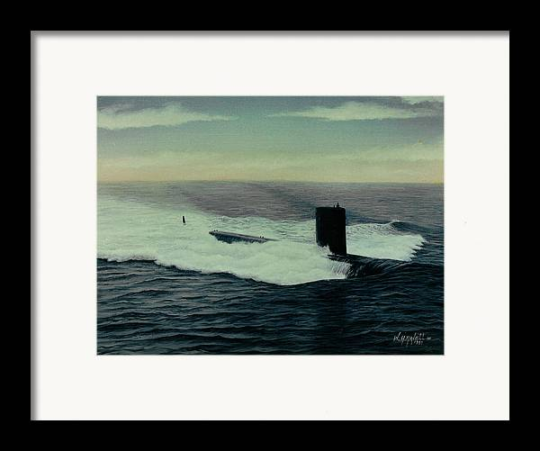 Submarine Framed Print featuring the painting Uss Topeka by William H RaVell III