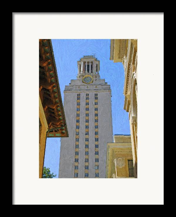 Dallas Framed Print featuring the painting Ut University Of Texas Tower Austin Texas by Jeff Steed