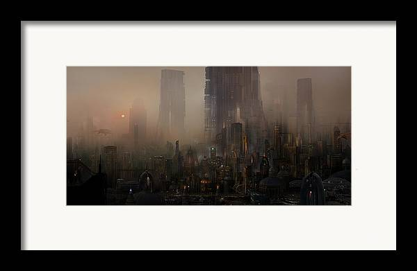 Future City Framed Print featuring the painting Utherworlds Cohabitations by Philip Straub