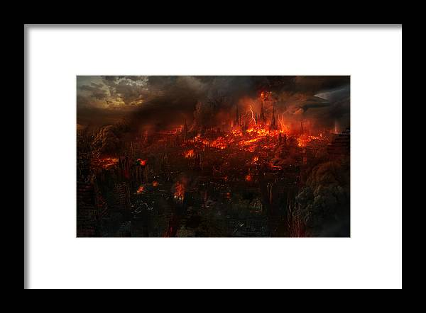 Philip Straub Framed Print featuring the painting Utherworlds Reckoning Day by Philip Straub