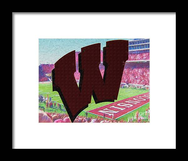Wisconsin Framed Print featuring the digital art Uw Game Day Poster - Oil by Tommy Anderson
