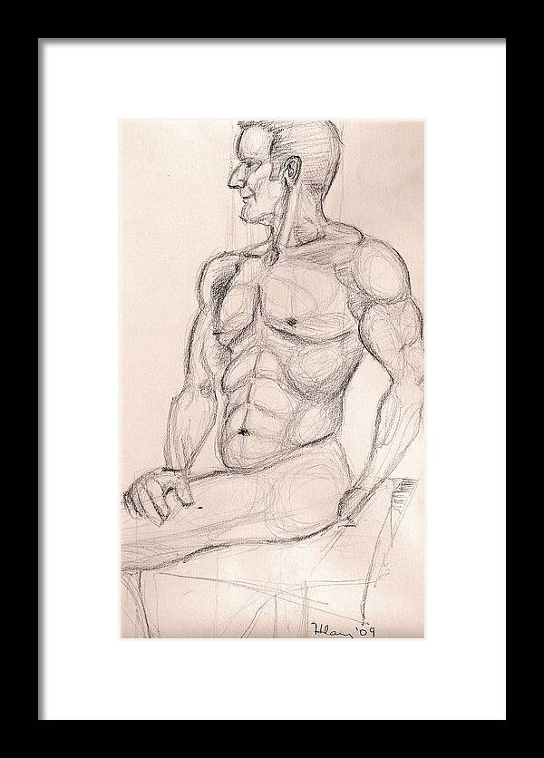 Nude Male Figure Drawing Study Framed Print featuring the drawing V At The Studio by Hilary England