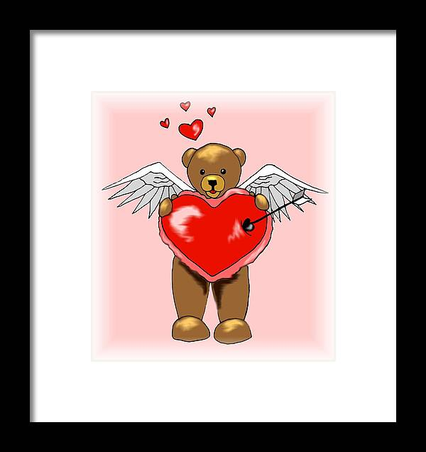 Bear Framed Print featuring the digital art Valentine Bear by Scarlett Royal