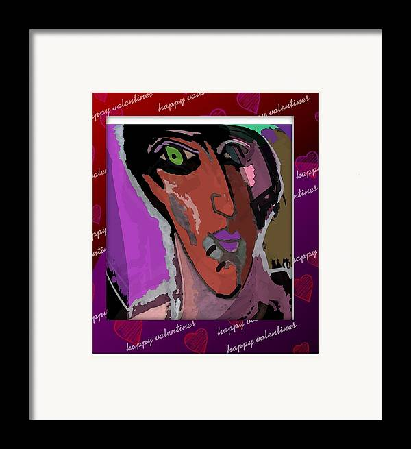 Post Card Framed Print featuring the mixed media Valentine by Noredin morgan
