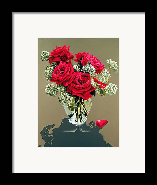 Flower Framed Print featuring the painting Valentine Roses by Ora Sorensen