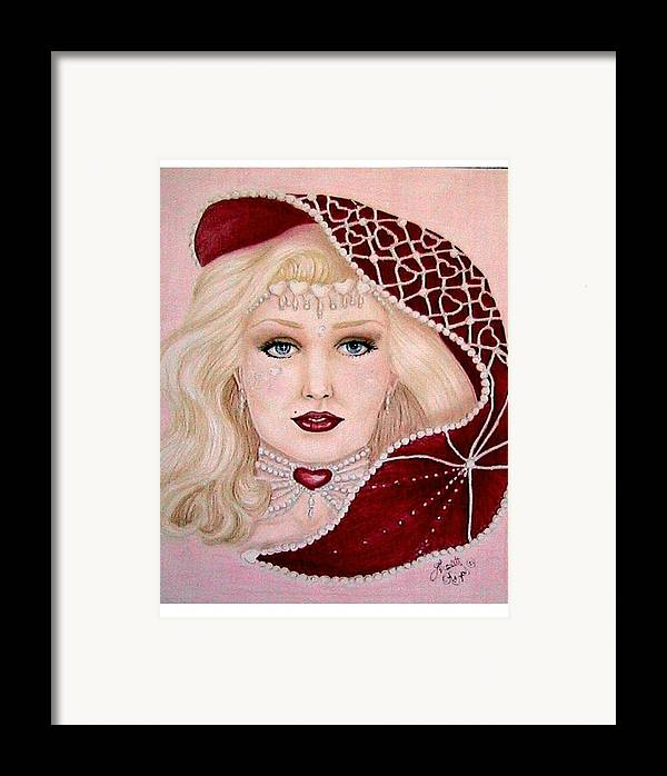Portrait Framed Print featuring the drawing Valentine by Scarlett Royal