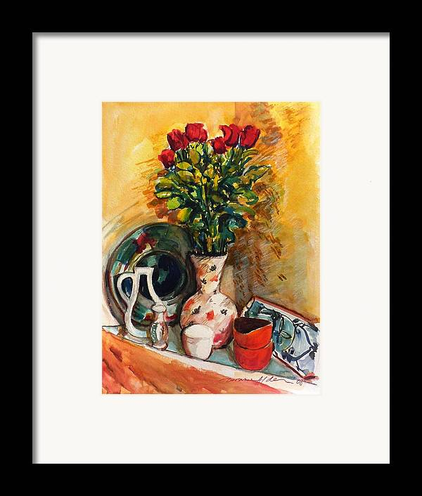 Floral Framed Print featuring the painting Valentine's Day Bouquet by Doranne Alden