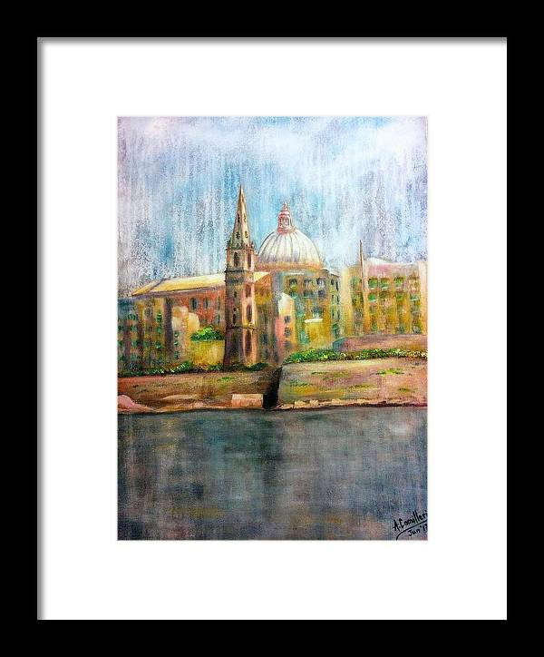 Framed Print featuring the painting Valletta Icon by Anthony Camilleri