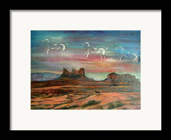 Landscape Framed Print featuring the painting Valley Of The Horses by Darla Joy Johnson