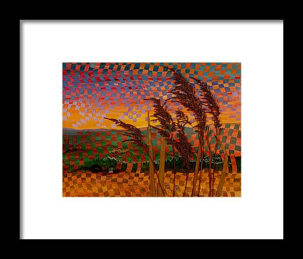 Landscape Framed Print featuring the painting Valley Sunset by Linda L Doucette