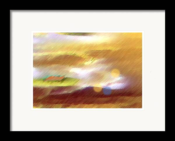 Landscape Framed Print featuring the painting Valleylights by Anil Nene