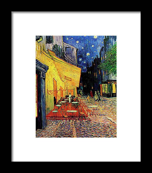 Van Gogh Framed Print featuring the painting Van Gogh Cafe Terrace Place Du Forum At Night by Vincent Van Gogh