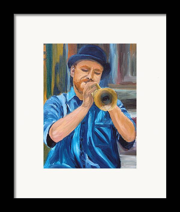 Musician Framed Print featuring the painting Van Gogh Plays The Trumpet by Michael Lee