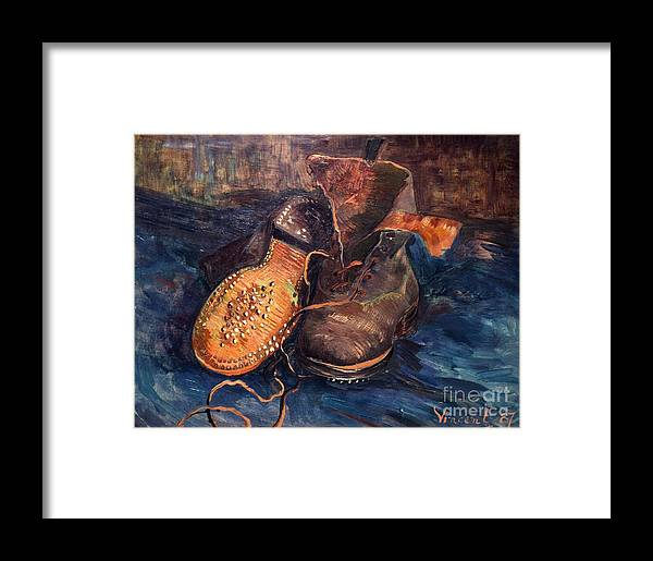 1887 Framed Print featuring the photograph Van Gogh: The Shoes, 1887 by Granger