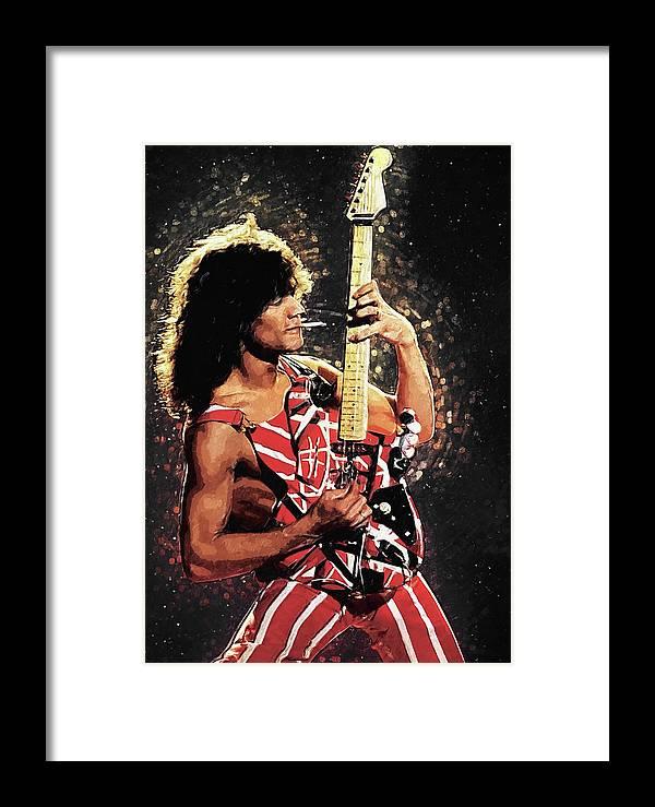 Eddie Van Halen Framed Print featuring the digital art Van Halen by Zapista