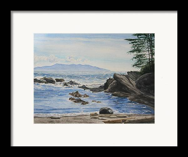 Seascape Framed Print featuring the painting Vancouver Island by Monika Degan