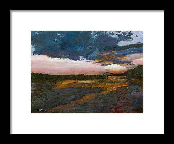 Landscape Framed Print featuring the painting Vancouver Sunset by Avi Lehrer
