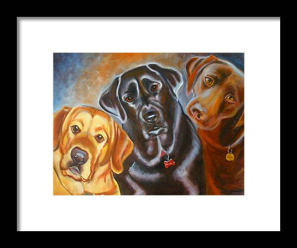 Labrador Retreivers Framed Print featuring the painting Vanilla Charcol And Chocolate by Kaytee Esser